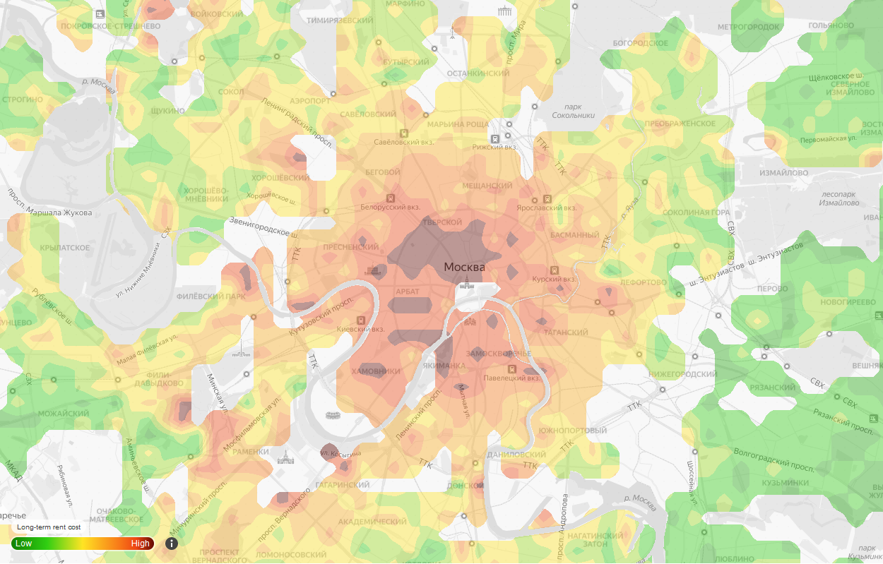 Heat map of rent prices of Moscow. Higher prices in city center